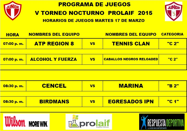 PROGRAMA TORNEO NOCTURNO DEL JUNIOR CLUB