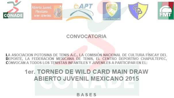 EN LA CANCHA SE GANARÁN LOS WILD CARDS DEL ABIERTO JUVENIL MEXICANO 2015