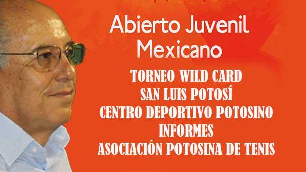 EL CIERRE DEL PRIMER TORNEO WILD CARD ES EL CINCO DE OCTUBRE; PIDE INFORMES EN LA ASOCIACIÓN POTOSINA DE TENIS