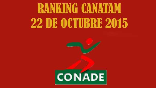 RANKING CANATAM 22 DE OCTUBRE 2015